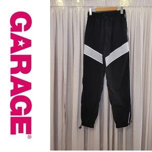 GARAGE Black/White Striped Nylon Pants